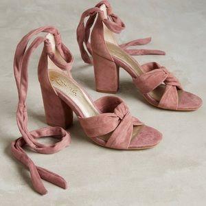 Pink Mauve Lace Up Heels